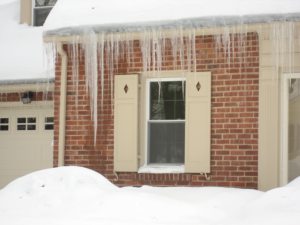 Icicles on Brick house